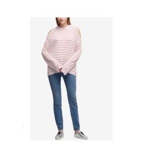 DKNY Cold-Shoulder Hoodie, White Pink, Large